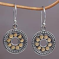 Gold accented sterling silver dangle earrings, 'Blissful Sunflowers' - Gold and Sterling Silver Circular Dangle Earrings Indonesia