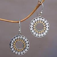 Gold accented sterling silver dangle earrings, 'Golden Halos' - Gold and Sterling Silver Circle Dangle Earrings Indonesia