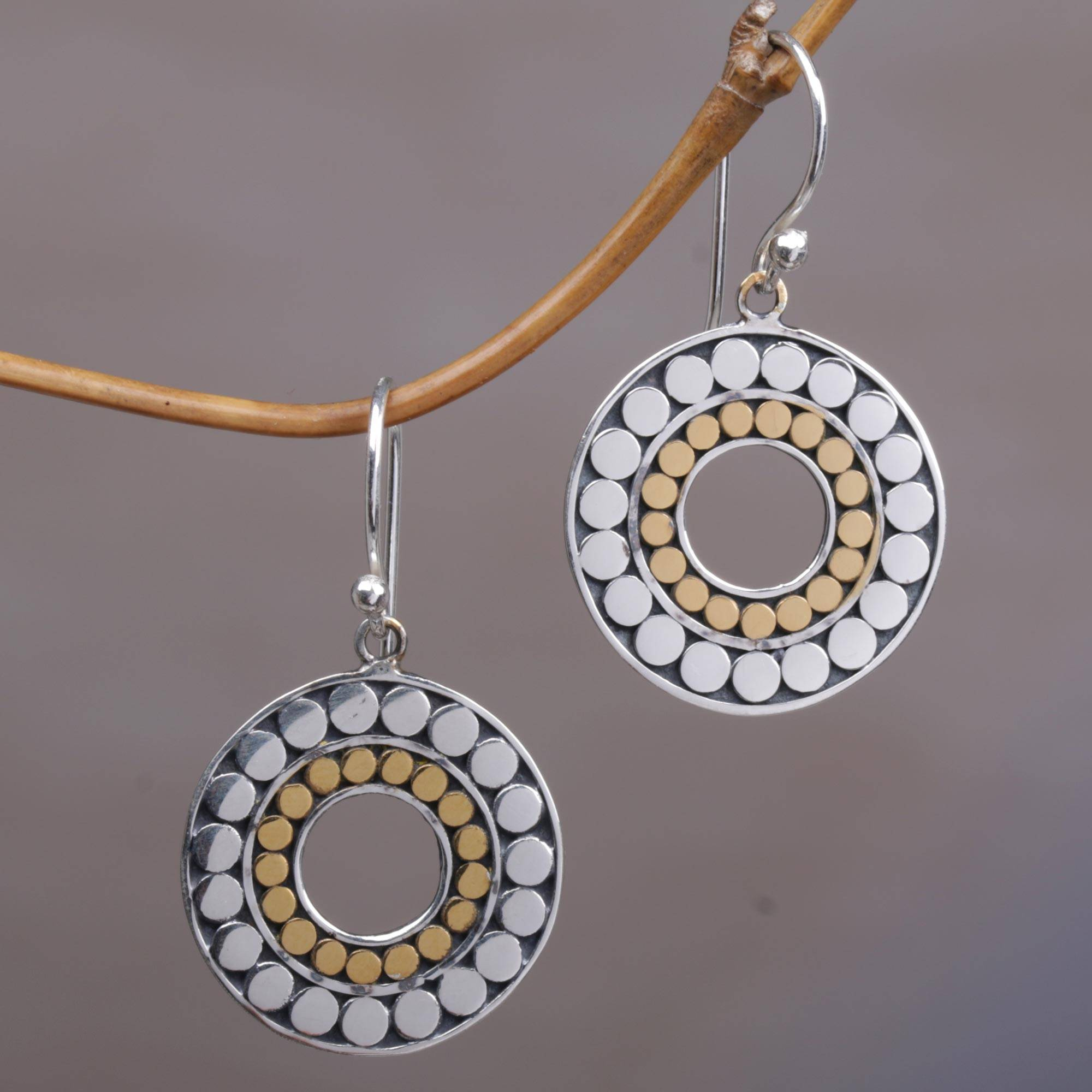 3f90614d48cce Gold and Sterling Silver Circle Dangle Earrings Indonesia, 'Golden Halos'