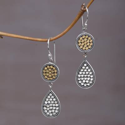 Gold accented sterling silver dangle earrings, 'Sunny Drops' - Gold and Sterling Silver Teardrop Dangle Earrings Indonesia