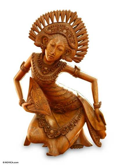 Wood statuette, 'Janger Dancer' - Indonesian Cultural Sculpture