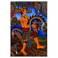 'Javanese Warrior' - Unique Acrylic Painting of Dancing Warrior from Indonesia