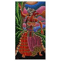 'Masked Dancer' - Original Acrylic Painting of Dancer from Indonesia