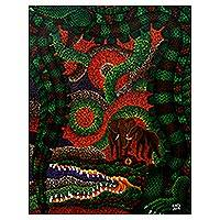 'Crocodile as Corruptor' - Original Acrylic Painting of a Crocodile from Indonesia