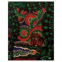 'Crocodile as Corruptor' - Original Acrylic Painting of a Crocodile from Indonesia