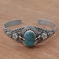 Turquoise cuff bracelet, 'Balinese Magic'