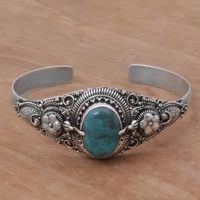 Turquoise cuff bracelet, 'Balinese Magic' - Natural Turquoise on 925 Sterling Silver Cuff Bracelet