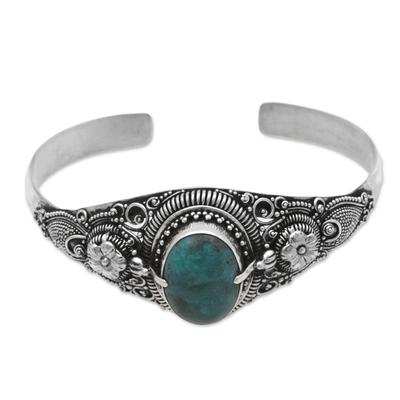 Turquoise cuff bracelet, 'Balinese Magic' - Natural Turquoise on 925 Sterling Silver Cuff Bracelet