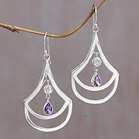 Amethyst and rainbow moonstone dangle earrings, 'Glory of Purple' - Amethyst and Rainbow Moonstone Dangle Earrings