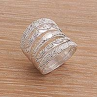 Sterling silver band ring, 'Five Shadows' - Handmade Engraved Sterling Silver Band Ring from Indonesia