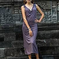 Maxi dress, 'Kuta Titanium' - Titanium Grey Rayon Sleeveless Maxi Dress From Indonesia
