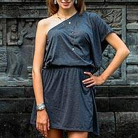 One-shoulder cotton dress, 'Graphite Grey Starlet' - Handmade One Shoulder Graphite Cotton Dress from Bali