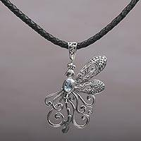 Blue topaz pendant necklace, 'Bali Dragonfly' - Blue Topaz Dragonfly Necklace Handcrafted in Bali