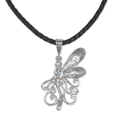 Blue topaz pendant necklace, 'Bali Dragonfly' - Blue Topaz Dragonfly Necklace Handcrafted in Bali