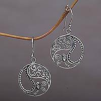 Sterling silver dangle earrings, 'Natural Balance'