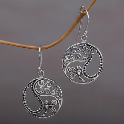 Novica Sterling silver dangle earrings, Embrace Love
