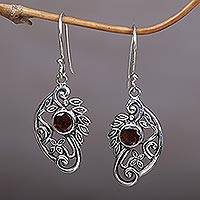 Garnet dangle earrings, 'Proud Swans' - Balinese Sterling Silver and Garnet Swan Theme Earrings