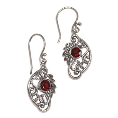 Balinese Sterling Silver and Garnet Swan Theme Earrings