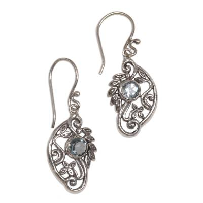 Balinese Blue Topaz and Sterling Silver Swan Theme Earrings