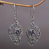 Amethyst dangle earrings, 'Proud Swans' - Handcrafted Balinese Silver and Amethyst Swan Earrings