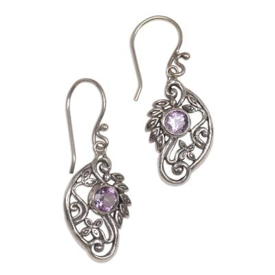 Handcrafted Balinese Silver and Amethyst Swan Earrings