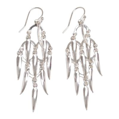 Sterling silver chandelier earrings, 'Feathered Dreams' - Handcrafted Balinese Sterling Silver Chandelier Earrings