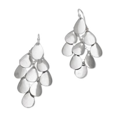Sterling silver chandelier earrings, 'Silver Cluster' - Bali Handcrafted Modern Sterling Silver Chandelier Earrings