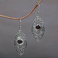 Garnet dangle earrings, 'Bali Amulet in Red' - Sterling Silver Garnet Openwork Dangle Earrings
