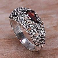Garnet single stone ring, 'Two Souls' - Sterling Silver and Garnet Single Stone Ring from Bali