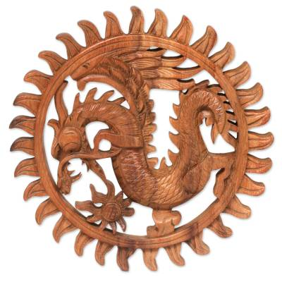 Hand Made Circular Wood Relief Panel of a Balinese Dragon