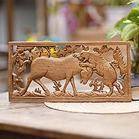 Wood relief panel, 'The Hunt' - Hand Carved Wood Relief Panel of a Tiger Hunting from Bali