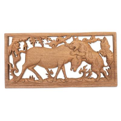 Hand Carved Wood Relief Panel of a Tiger Hunting from Bali