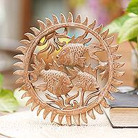 Wood relief panel, 'Koi Trio' - Hand Carved Wood Fish Wall Relief Panel from Indonesia