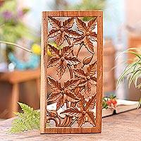Wood relief panel, 'Peaceful Flower' - Hand Made Square Floral Wood Relief Panel from Indonesia