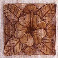 Wood relief panel, 'Tangled Waribang' - Hand Made Wood Relief Panel of Waribang Flower from Bali