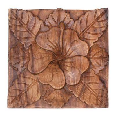 Wood relief panel, 'Tangled Waribang' - Hand Made Wood Relief Panel of Waribang Flower from Bali