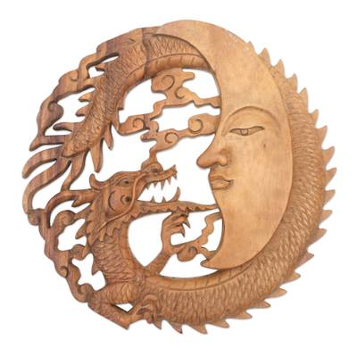 Balinese Suar Wood Relief Panel of a Dragon and the Moon
