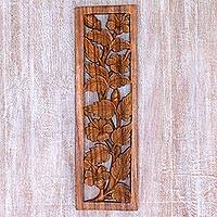 Wood relief panel, 'Shoe Flower Garden' - Hand Carved Balinese Hibiscus Floral Relief Panel