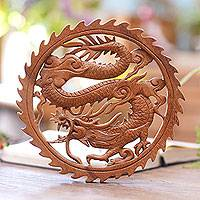Wood relief panel, 'Aura of Antaboga' - Hand Carved Wood Relief Panel of a Dragon from Indonesia