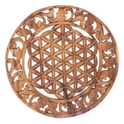 Wood relief panel, 'Circle of Leaves' - Hand Carved Circular Suar Wood Relief Panel from Bali