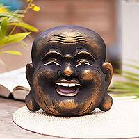 Wood mask, 'Knowing Buddha' - Gold Tone Wood Wall Mask of a Balinese Laughing Buddha