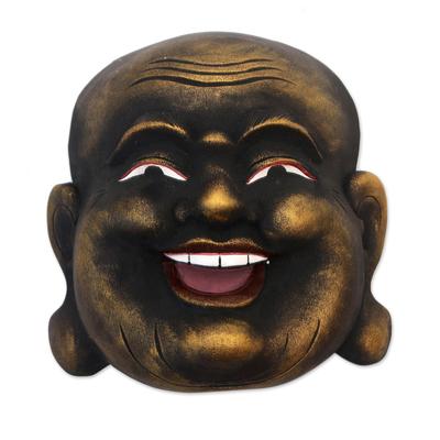 Gold Tone Wood Wall Mask of a Balinese Laughing Buddha