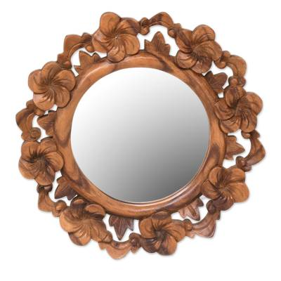 Mirror, 'Jepun Reflection' - Hand Carved Natural Wood Balinese Floral Wall Mirror