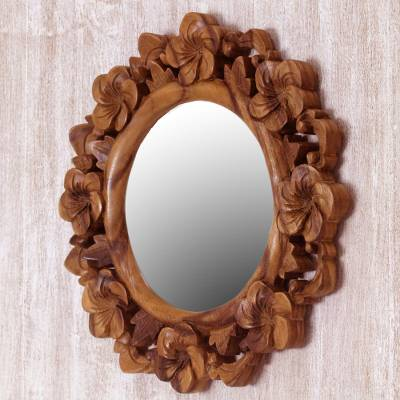 Hand Carved Natural Wood Balinese, Natural Carved Wood Round Mirror