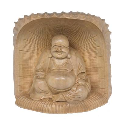 Hand Carved Wood Sculpture of Buddha from Bali