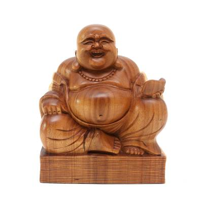 Wood sculpture, 'Buddha's Charm' - Balinese Hand Carved Laughing Buddha Wood Sculpture