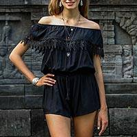 Rayon off-shoulder romper, 'City Queen' - Sleeveless Black Rayon Romper from Indonesia