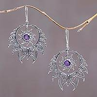 Amethyst dangle earrings, 'Fire of Shiva' - Silver and Amethyst Flame-Shaped Dangle Earrings