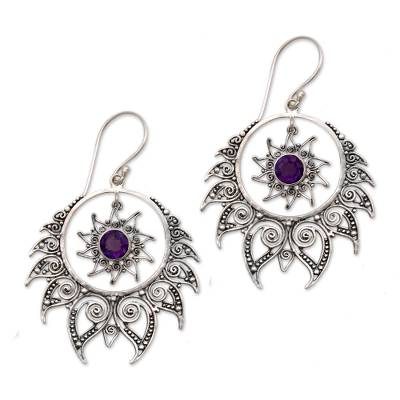 Silver and Amethyst Flame-Shaped Dangle Earrings