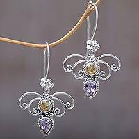 Citrine and amethyst dangle earrings, 'Manggar Flowers' - Citrine and Amethyst Spiral Dangle Earrings from Bali